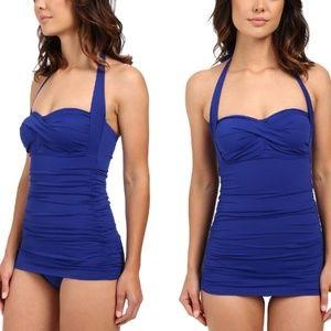 Ralph Lauren Retro Ruch Swimsuit one piece Blue